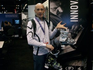 Rick checks out the new 2013 - 2014 Tecnica ski boots at the 2013 SIA Snow Show