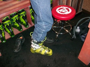 Rick tries on the K2 ski boot at SIA 2013