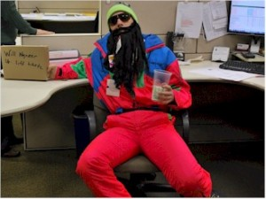 Certified Ski Technician in Halloween costume.