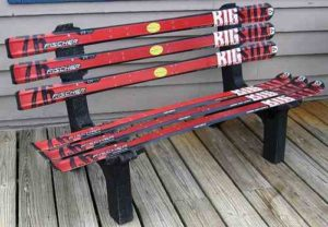 bench made of old skis