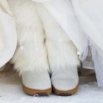 White Furry Boots for the Winter Bride