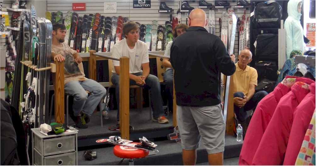 Rossignol Rep Tim Parker gives Alpine Accessories staff annual product clinic.